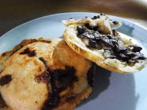 Vegan huitlacoche arepas on Tepic street